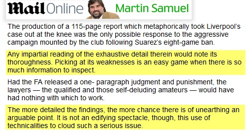 Martin Samuel on Suarez, Daily Mail, 4/1/12