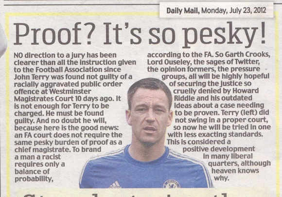 John Terry piece, Daily Mail , 23/7/12
